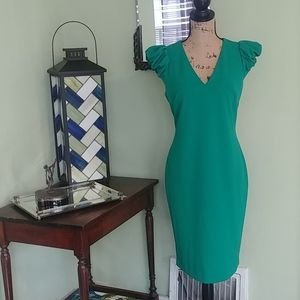 💚 Calvin Klein pencil dress with puff sleeves